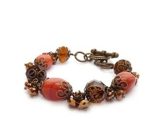 Gemstone Cluster Bracelet - Orange & Brown - Wire Wrapped Bracelet - Bronze Beads - Jasper Nuggets - Chunky Statement Bracelet