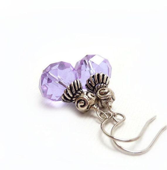 Lilac Drop Earrings, Wire Wrapped, Sterling Silver, Lavender Purple Earrings, Dainty Petite Bridal Jewelry