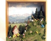 Alpine Fairy Scene on the Wall - Edition 10 -  The Hornblower and Handmade Stone Country House with Mountain Sheep, Pine Trees and Mushrooms