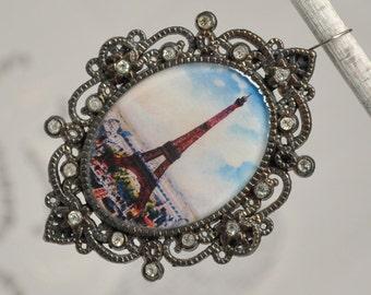 La Tour Eiffel Antique Post Card Print Eiffel Tower Pendant Large Ornate Oval