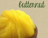 Butternut Mauch Chunky Wool Roving by Kraemer Yarns 1 oz. Bright Solid Yellow Lemon for felting or spinning