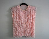1950's BLUSH Blouse with Eyelet Scallop and Tiered touches