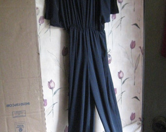 1980s womens black jumpsuit romper     by ANTHONY Richards sz 8