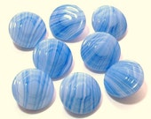 8 Blue and White Slag Style Vintage Glass Buttons 19mm Set Sewing Buttons