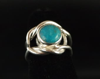 Sterling Silver and Turquoise Knot Ring Size 3 3/4