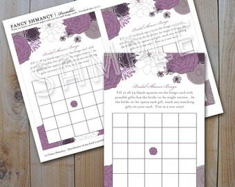 Bridal Shower Bingo Game Card / Purple Floral / Instant Download / PRINTABLE / #31400