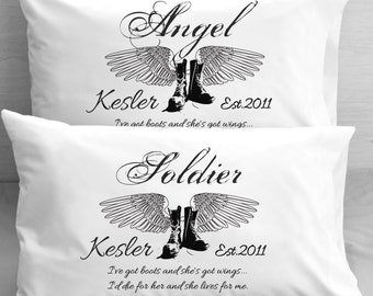Soldier and Angel  Military Couple Personalized Pillowcases  Boots and Wings Wedding Engagement Anniversary Wedding Shower Gifts