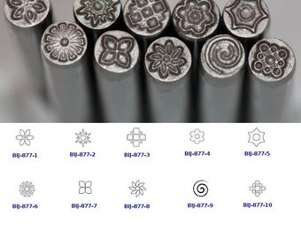 BIJ-877-P, KENT 5.0mm Various Floral Patterns Precision Design Metal Punch Stamps, Sold Individually