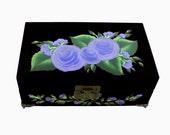 Hand Painted Jewelry Box - French Blue Roses on Black Box, Mirror 2 Trays - Bridal Jewellry Box Keepsake Box