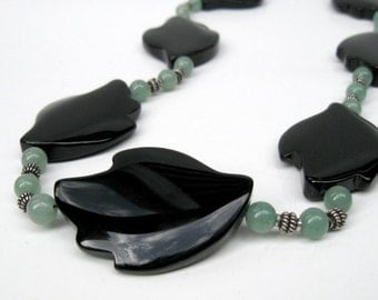 Black Onyx necklace with bali sterling silver, Green aventurine necklace, Black leaf necklace