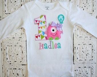 Pink Monster Birthday shirt