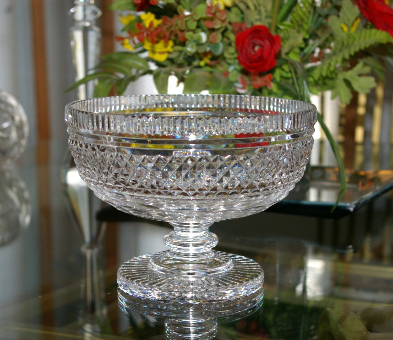 Waterford crystal bowl footed table centerpiece vintage - Footed bowl centerpiece ...