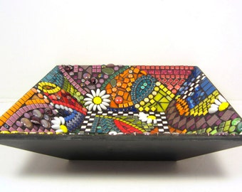 Special Gift  MOSAIC statement piece -- Bowl, colorful mosaic, perfect for giving or keeping, greatgroup gift for weddings, holidays..
