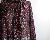 vintage. 70s Dark Print Secretary Dress / S M L
