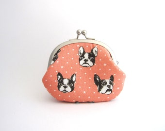 Coin Purse- french bulldog in pink change purse with silver metal clasp, kiss lock coin pouch
