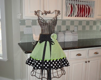 Green Apples ~ Annabelle Style  ~ Women's HALF Apron - 4RetroSisters