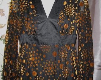 Dress Brown Velvet and Black Dotted Print Sheer Sleeves 60s Vintage