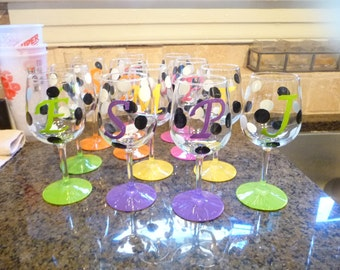 Hand painted and Personalized Wine Glasses  for Wedding Party Etc. Etc.