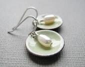 Tea Green Enamel White Pearl Modern Minimalist Circle Earrings