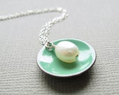 Mint Green Enamel Modern Minimalist Necklace White Pearl Sterling Silver