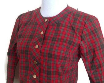 1950's Dress,  Red Tartan Plaid, cotton skirt,  bolero Top,  jean castle, Size Small 2 pxc