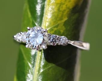 5 stone Diamond Engagement Ring - 14K White Gold - wedding- brides - engagement - Bp033