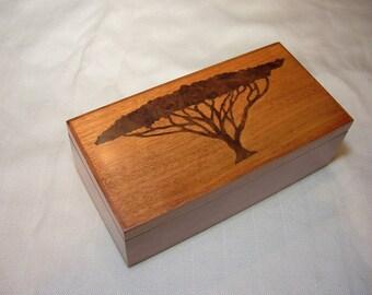 Wood Valet Box Jewelry Box, Cherry with Acacia Tree Inlay, Custom Order