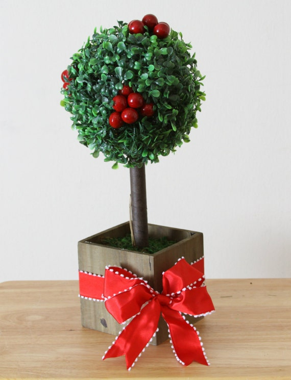 Boxwood topiary holiday centerpiece artifical by welovewreaths