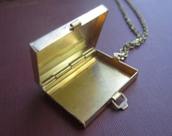 Large Brass Box Locket Personalized with the Hand Engraved Message of your Choice for Free