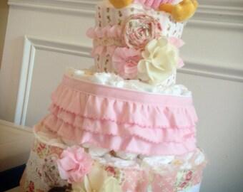 Custom Diaper Cakes Garden Shabby Chic pink coral owl