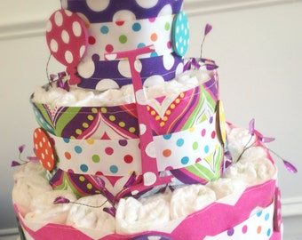 Custom Diaper Cakes Bright Polka Dot About to Pop
