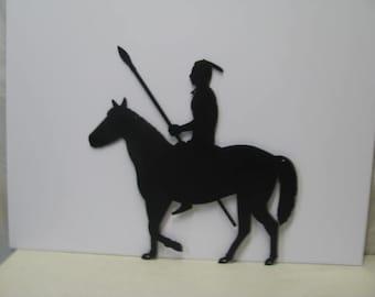 Indian  Warrior on Horse Metal Wall Yard Art Silhouette