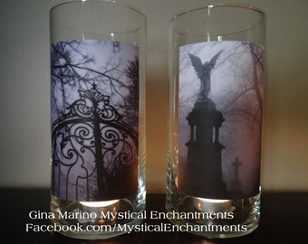 Halloween CEMETERY Large votive candle holder- Set of 2