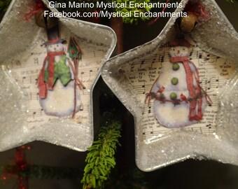 Set of 2 VINTAGE tart mold Snowmen ornaments