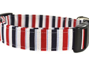 Fido - Red and Blue Striped Dog Collar