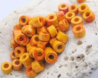 Mykonos Greek Ceramic Mini Tube Beads -MORE for LESS-30 speckled orange yellow 6X4mm Mykonos Beads Spring Sewing scrapbooking supplies Diy