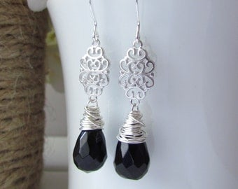 Black Onyx Earrings, Black Stone Earrings, Black and Silver, Bridesmaid Jewelry, Silver Chandelier Filigree Wire Wrapped, Sterling Silver