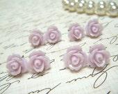 Four (4) Pair TinyThistle Purple Flower Earrings, Thistle Rose Earrings, Stud Earrings, Bridesmaid Jewelry, Vintage Style Earrings.