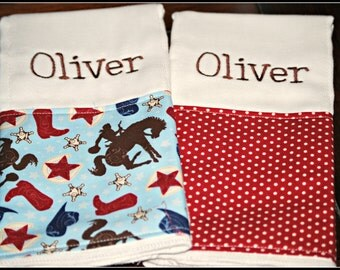 SAMPLE SALE - Embroidered Blue and Red Cowboy Burp Cloth - Monogrammed and Personalized - Ready to Ship