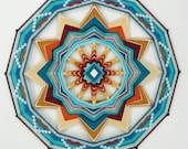 Red Rock Sun, a 12 sided 24 inch Ojo de Dios mandala, by custom order