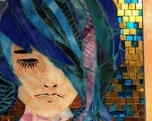 Mixed Media Mosaic, Rachel is her name, she is a beauty with blue hair, mosaic art