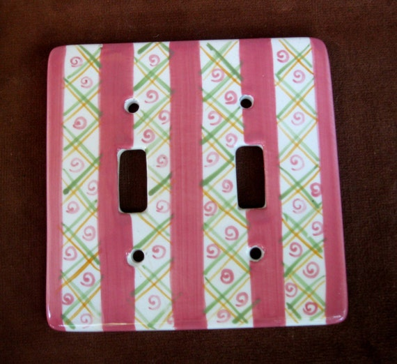 hand painted pink stripe ceramic double switch by