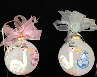 Hand Painted Stork Baby Ornament - Personalized FREE