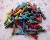 50pcs assorted colors Suede Leather Tassels charms pendant, Ideal Accessories for DIY projects, Suede leather tassel