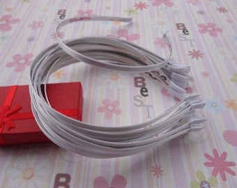 18pc white color satin covered metal headband with bent end thin 5mm