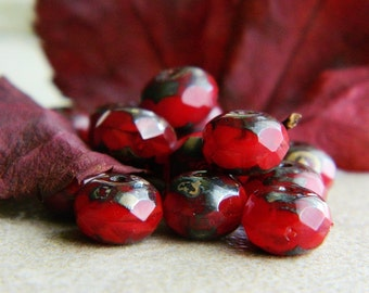 Picasso Czech Glass Beads Fire Polished Faceted Rondelles Spacers 6X9mm Marbled Dark Red &  Dark Metallic  Picasso (20pcs) NEW