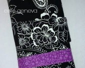 Black Paisley Purple OR Indigo Blue Grey Floral Roses Crochet Hook Case Organizer / Cosmetic Gray Vintage