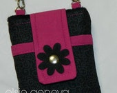 Personalized Black Swirls Cerise Fuchsia Magenta Phone Case with Shoulder Strap & Back Zipper Pocket iPhone 4 5 6 Plus