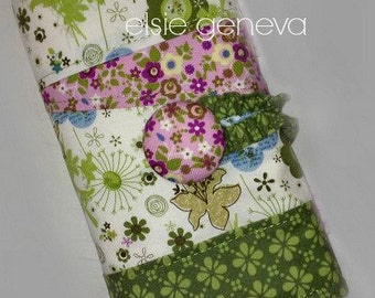 Choose Any Fabric in My Shop OR Orchid , Green , Blue and Pink Floral Crochet Hook Case / Organizer with Sewn in Zipper Pocket or Soft Grip