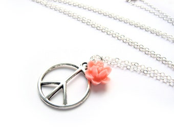 Peace Sign Necklace With Peach Rose In Silver - 60s Hippie Style -  Boho Babe